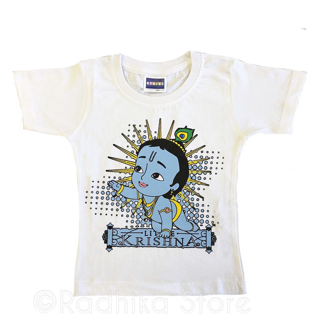 Effulgent Little Baby Krishna White-Short Sleeve- Size 6 to 12 Months