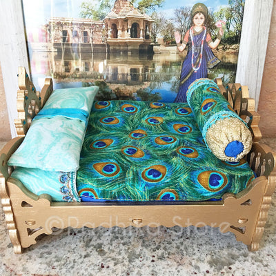"Chakra Lotus - Peacock Feather Bed - 8"" Inch"