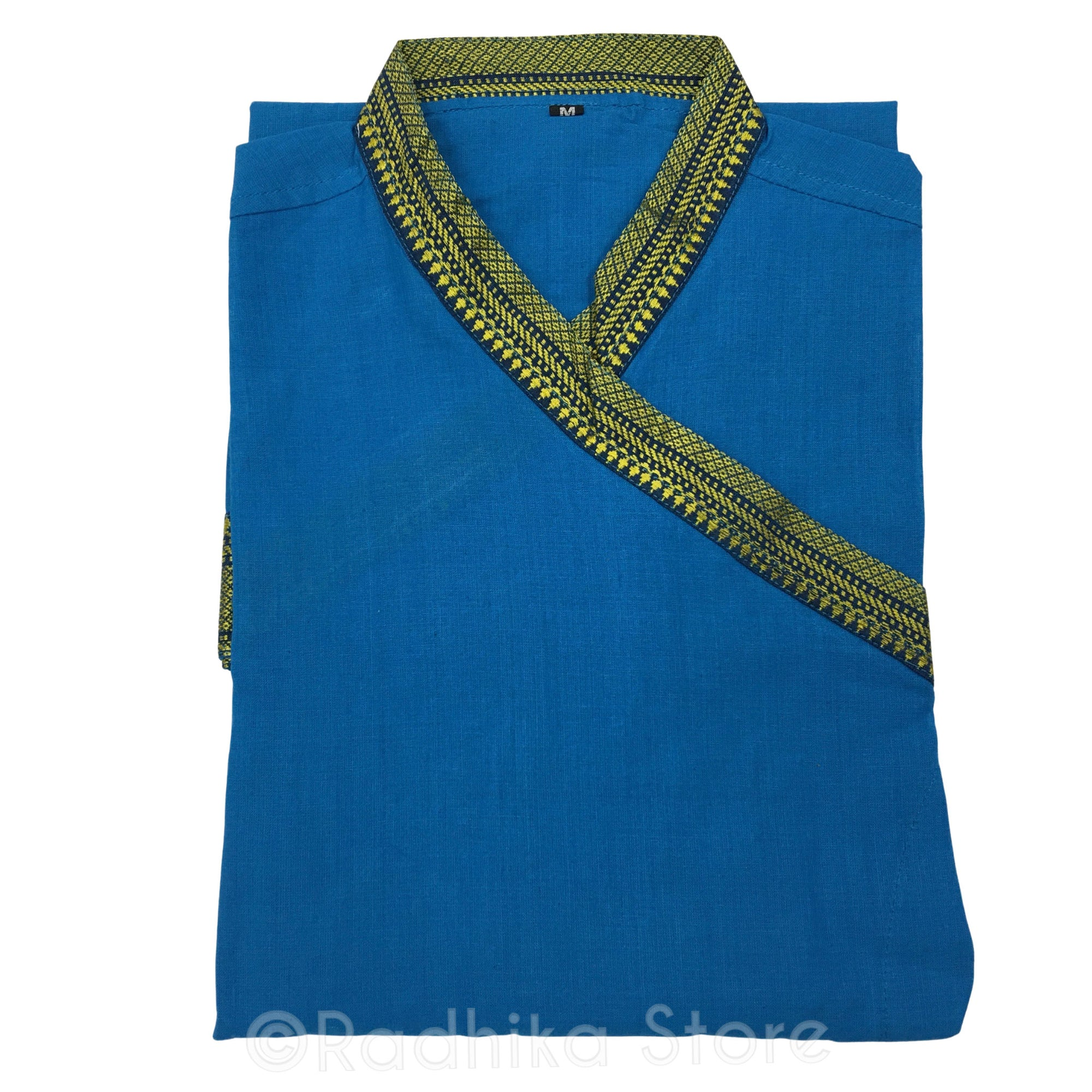 Festival Blue Color - Bundy Style Kurta - Cotton - Short Sleeve