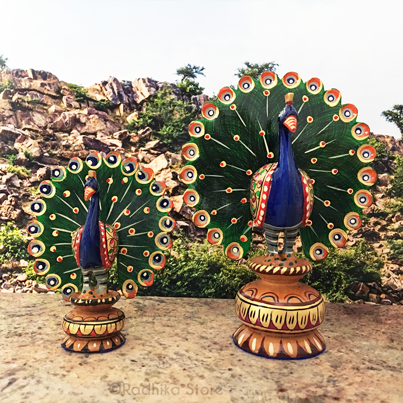 Hand carved and Painted  Dancing Govardhana Peacocks - Choose Size and Color
