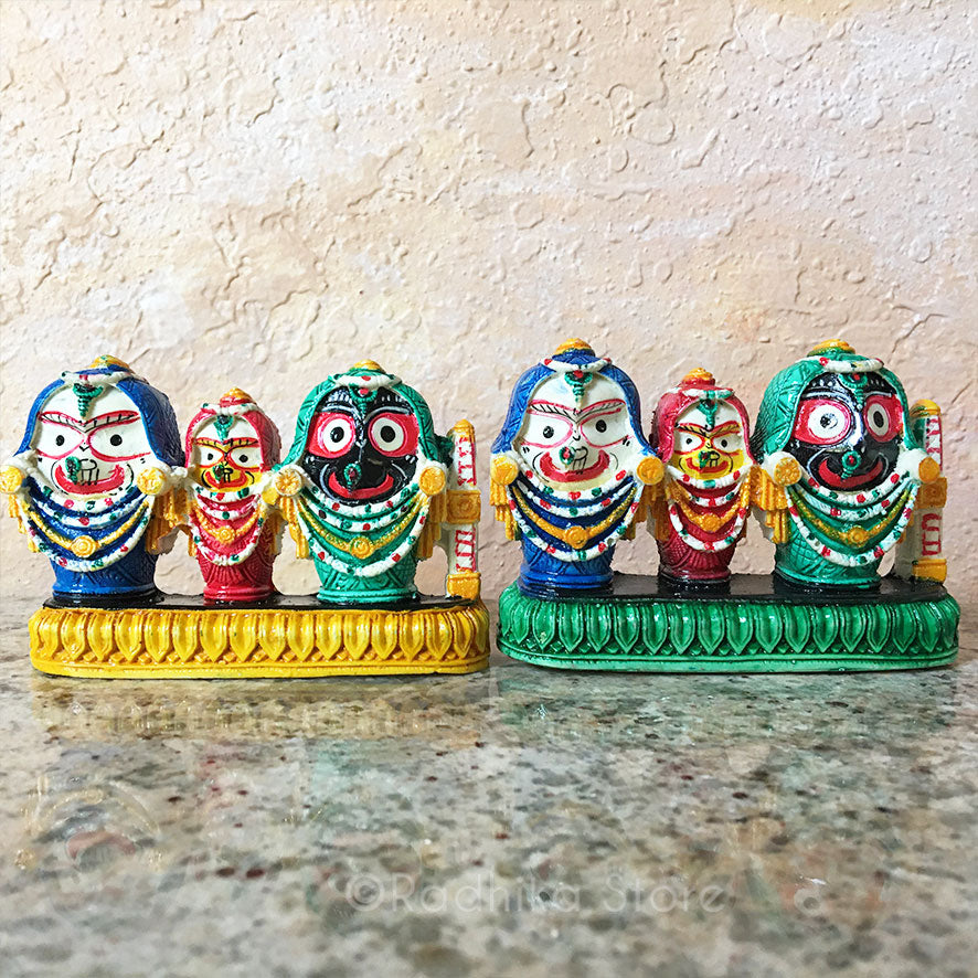 Lord Jagannath Baladeva Lady Subadra Murti- With Chadar- Yellow or Green