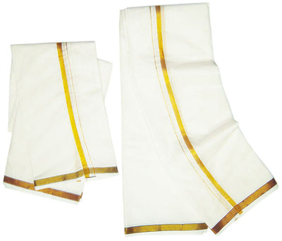 Golden Border Checker Stripe - Cotton Dhoti & Chadar