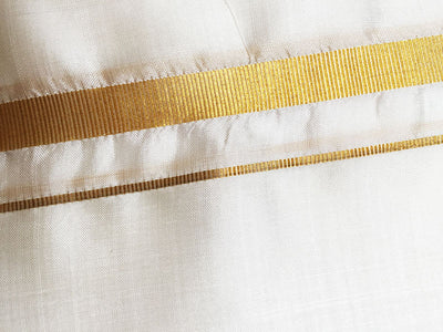 Golden Border Cream Color - Pure Silk Dhoti & Chadar