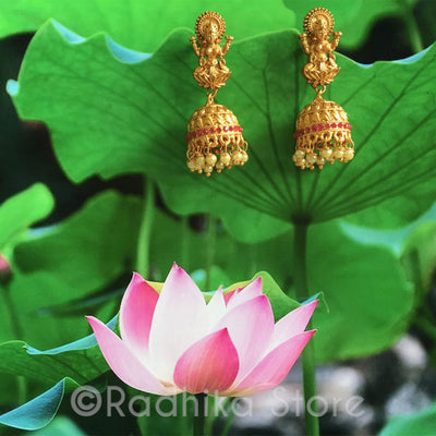 Lakshmi Pearl Temple Bell Earrings