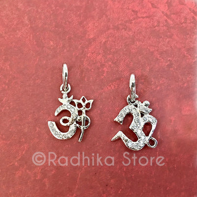 Small Silver OM CZ's Pendants -Choose Style