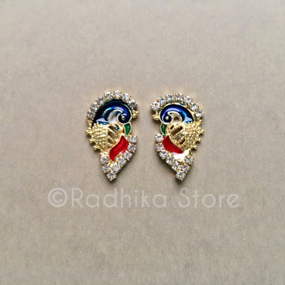 Blue and Red Peacock For Deity Earrings, Crowns and Turbans