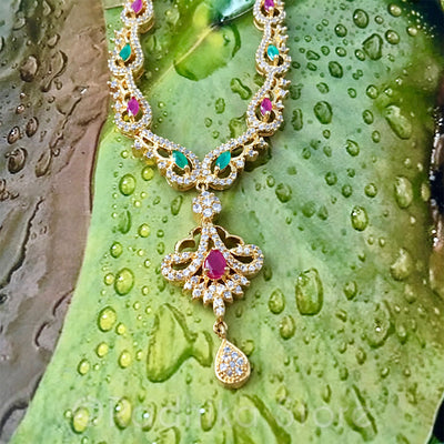 Emerald Ruby Rhinestone Peacock Necklace And Earring Set