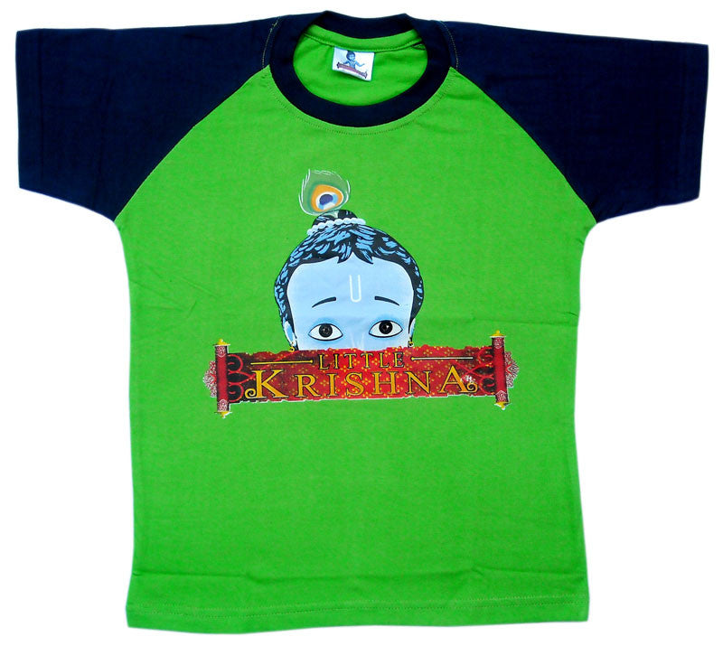 Peeking Krishna T-shirt, Green