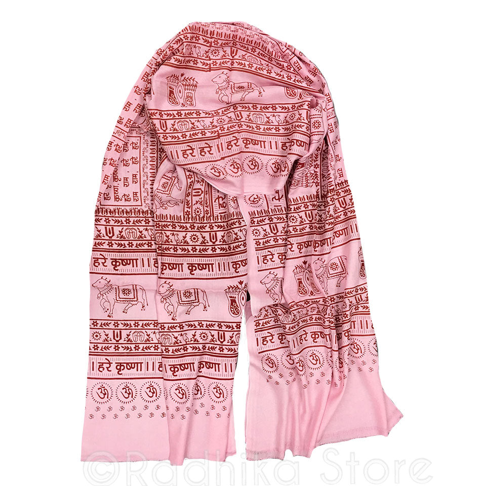 Maha Mantra Chadar - Pink With Red - Vrindavan Cows, Om, Lotus Feet
