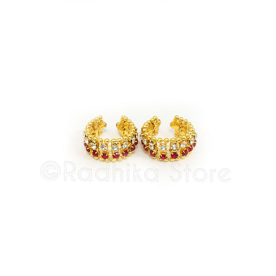 Ruby - Diamond or Multi  Rhinestone Bangles/Anklets - Set of 2 - Size Medium