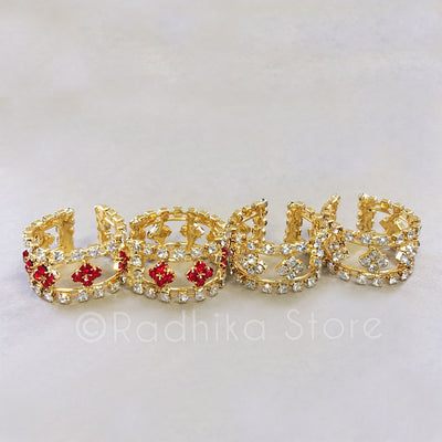 Wide Rhinestone Flower  Armlets/Bangles - Set of 2 - Faux Ruby or Diamond
