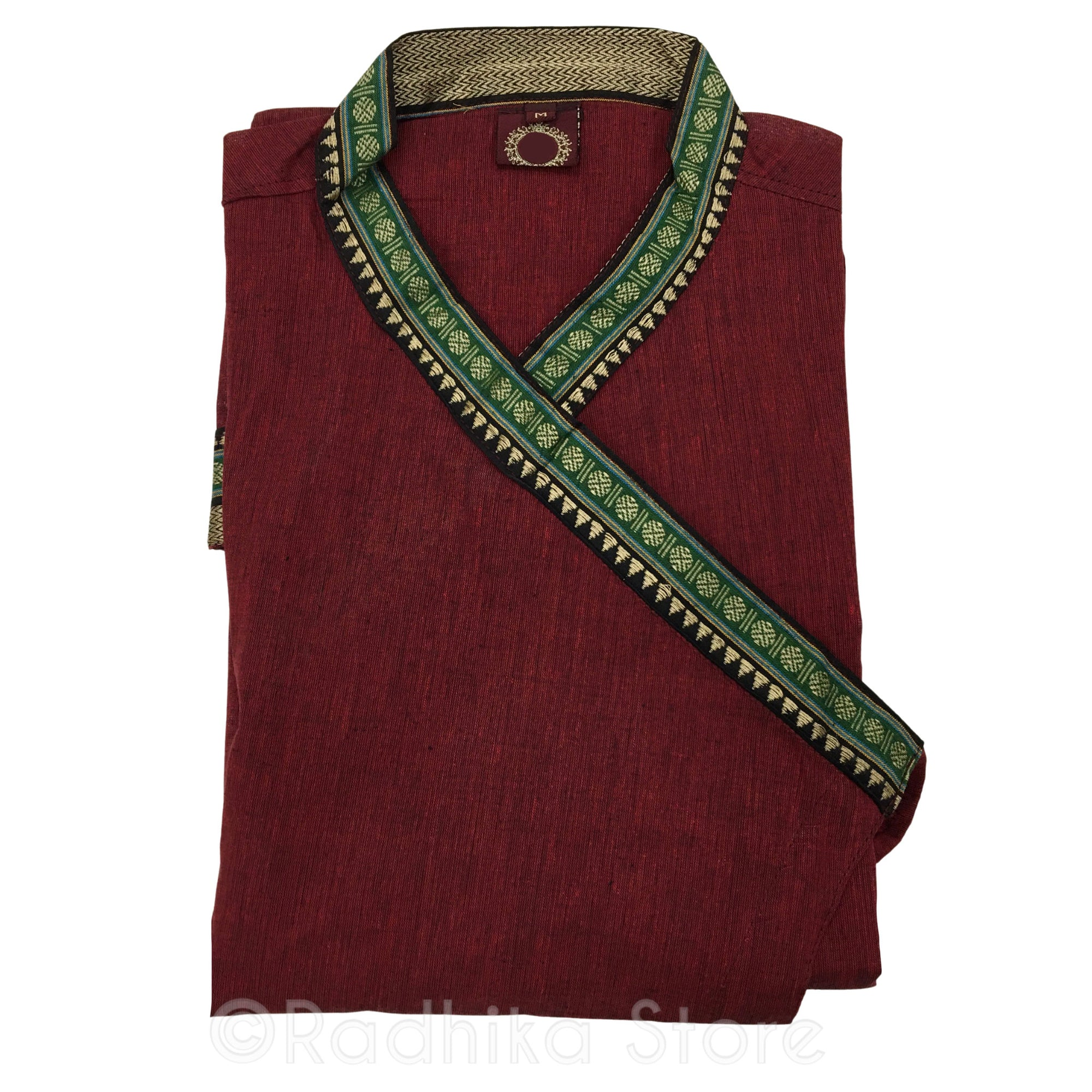 Maroon Festival Bundi Kurta - Cotton - Short Sleeve