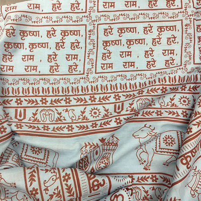 Maha Mantra Chadar - Sky Blue With Red - Vrindavan Cows, Om, Lotus Feet