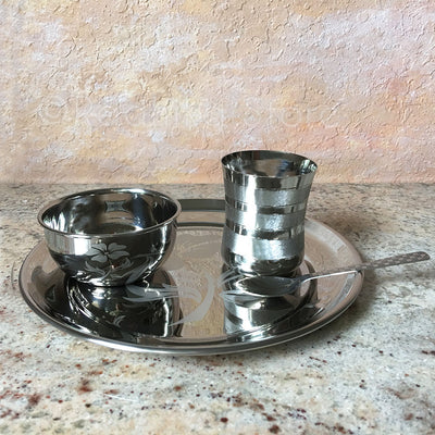 Medium Deity Offering Set With 2 Bowls - (Stainless Steel) Flower Design