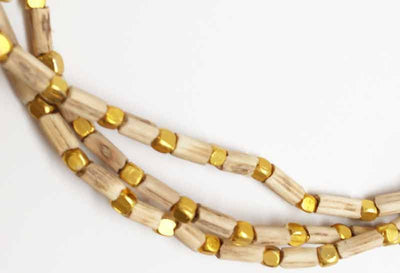 Tulsi Necklace with Square Gold Beads - 2 Rounds