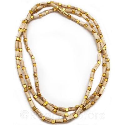 Tulsi Necklace with Square Gold Beads - Choose Size
