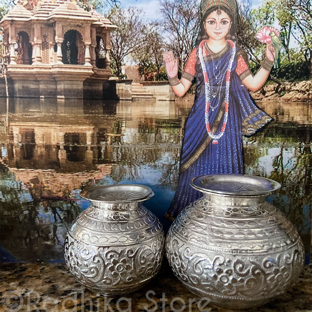 Large and Extra Large Fancy Silver Deity Pots