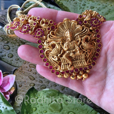 Vishnu Peacock Necklace - 24 Karat India Gold look