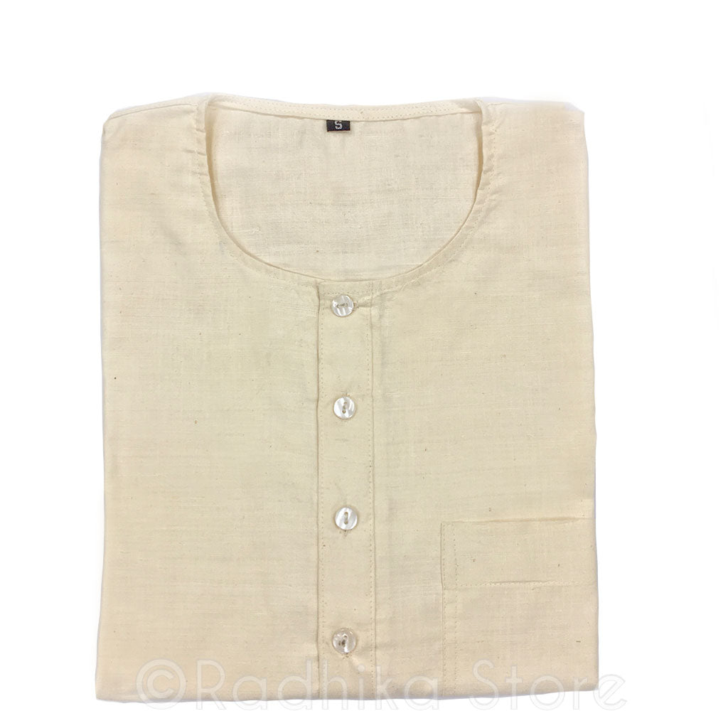 Raw Silk Off White Kurtas - S,m,l,xl,