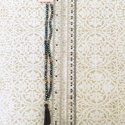 Peacock Colors Glass Beads - Tassel Necklace