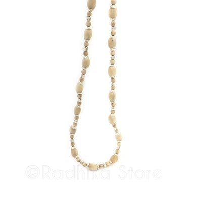 Silver Barrel Bead Tulsi Necklace- 2 sizes