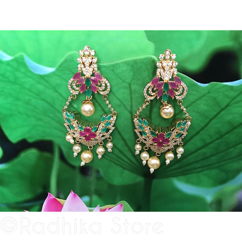 Pink and Green Flower Basket Pearl Drop Earrings - Bollywood Collection