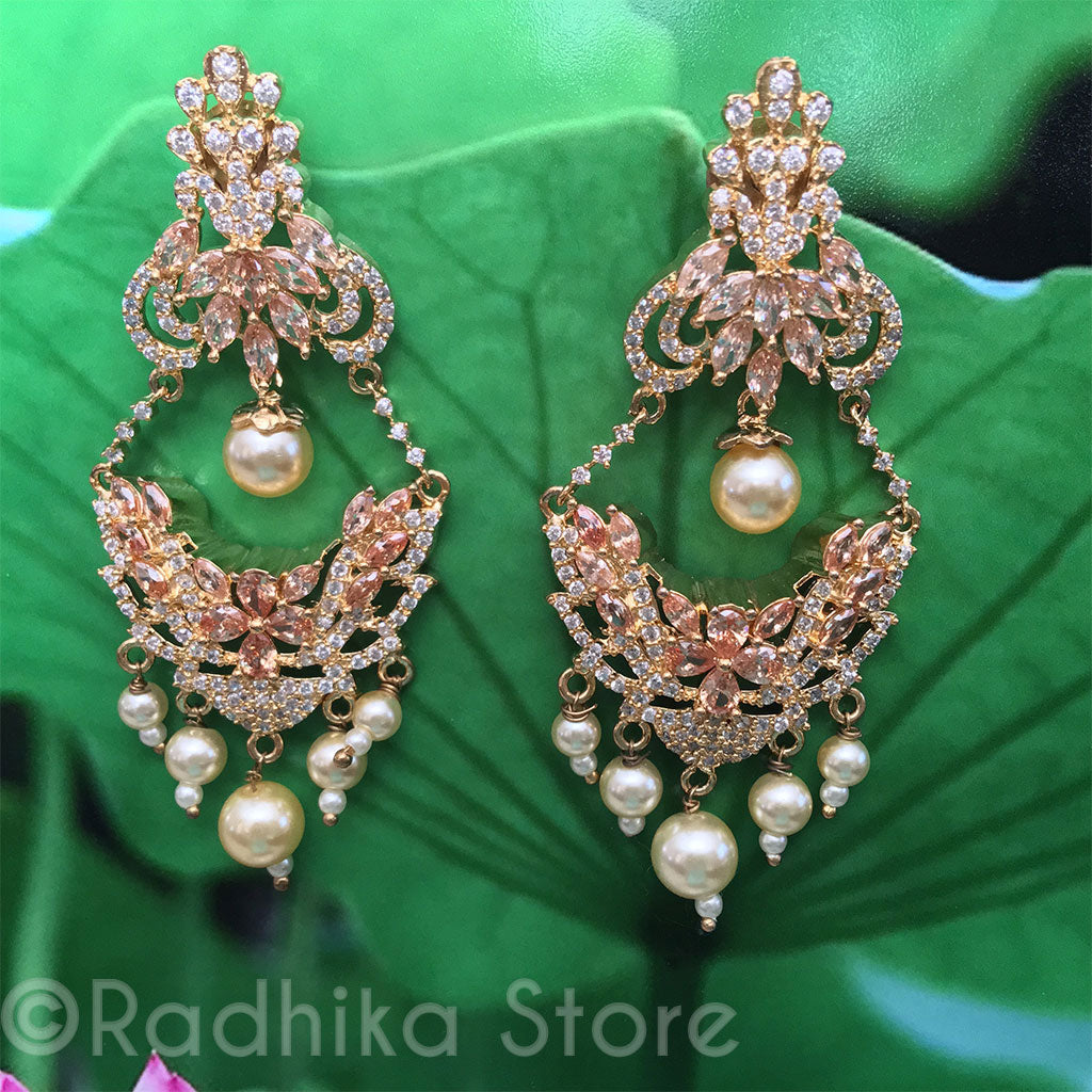 Faux Morganite Pearl Drop Earrings - Bollywood Collection