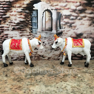 "Small Surabhi Altar Cows Red Set Standing 2 3/4"" Inches"