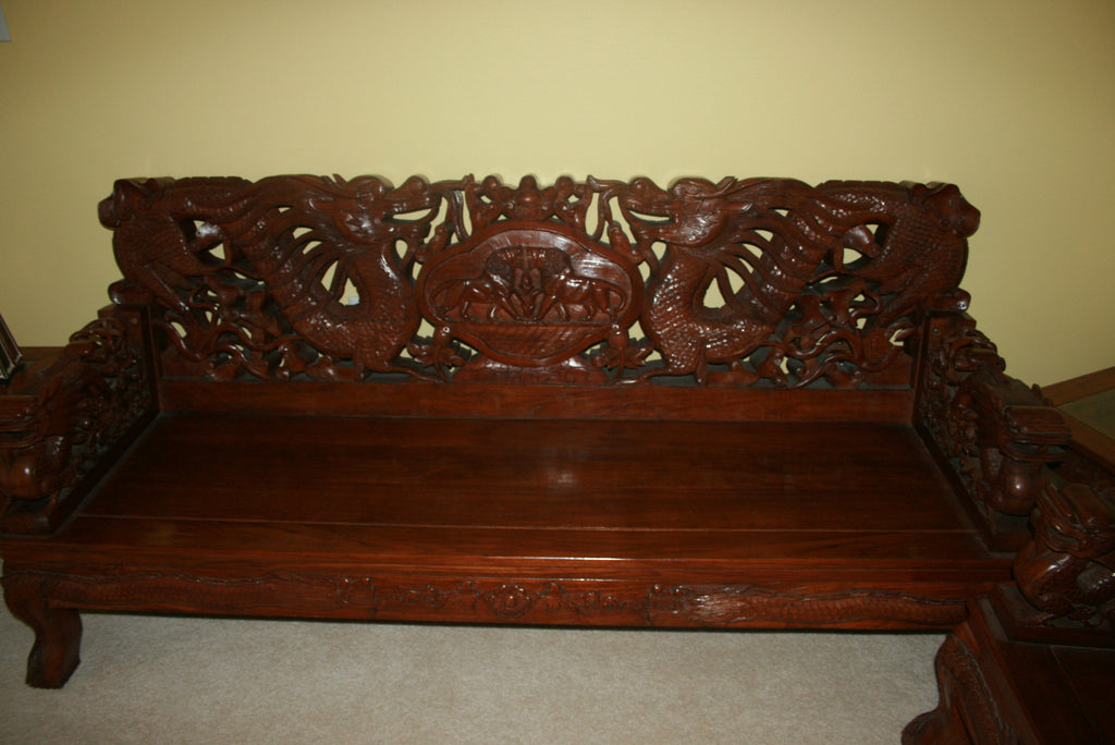 Antique Chinese deep carved 3 seaters set, masterpiece