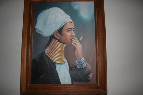 Aung.92 - Girl with cheroot - oil picture, oil on canvas