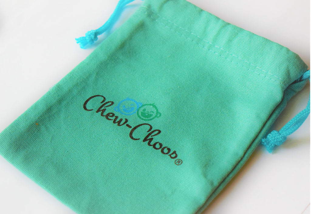 chew choos cotton turquoise cinch bag