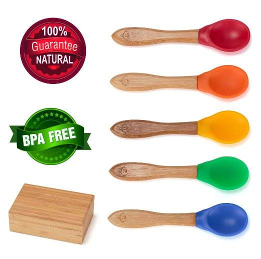 toddler spoons gender neutral rainbow colours bpa free