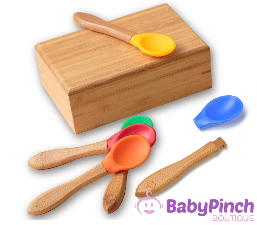 Hybrid bamboo silicone toddler spoons set of five with detachable heads come in a keepsake organic bamboo box
