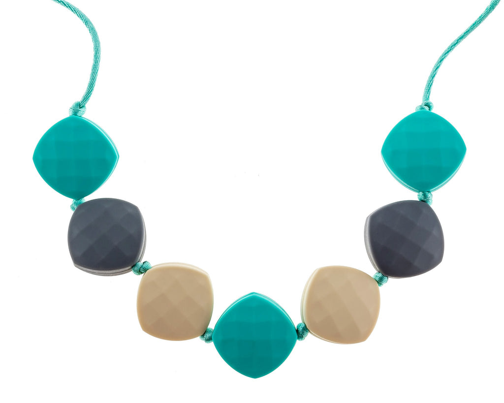 playful oceana beach color seven beaded teething necklace