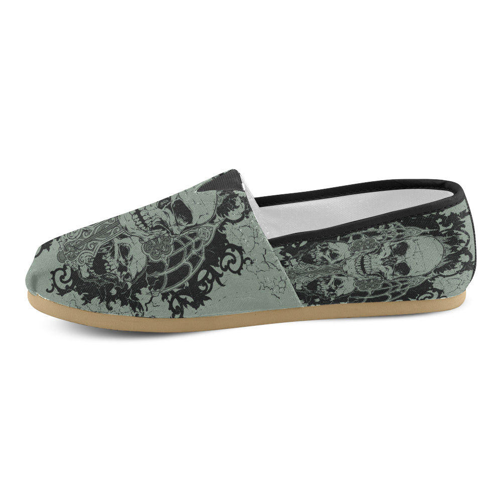 Women's Skull Graveyard Casual Slip On Shoes