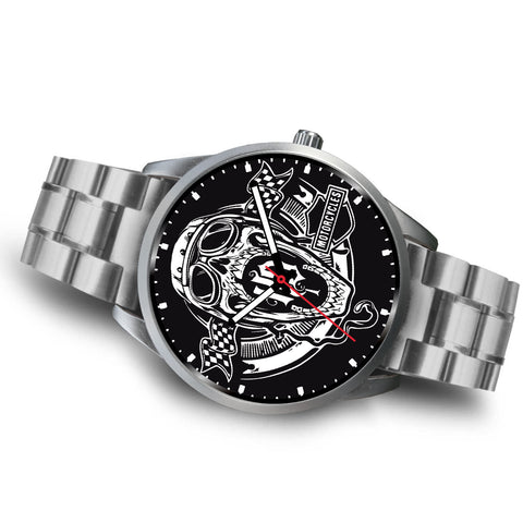 Classic HD Skull Silver Bezel Watch