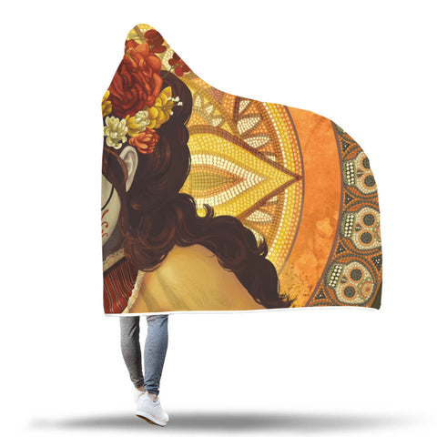 Image of Orange Lotus Sugar Skull Hooded Blankets
