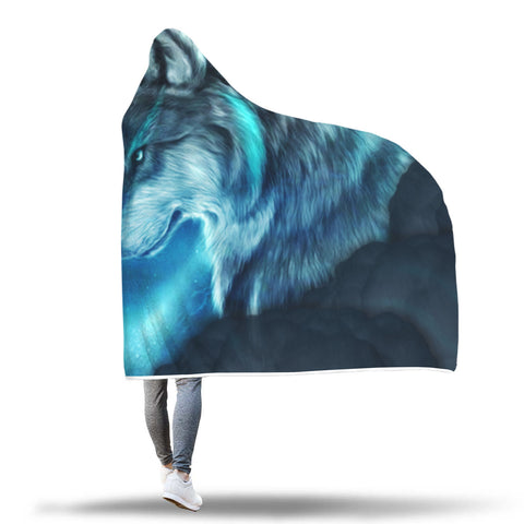Image of Beautiful Moon Wolf Hooded Blankets