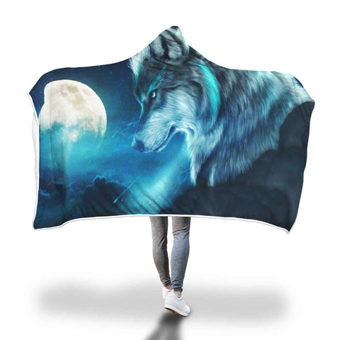 Image of 3 Moon Wolf Hooded Blankets - (Three Blankets)