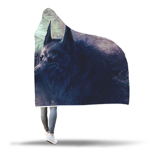 Image of Twin Wolves Hooded Blanket