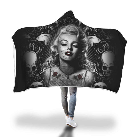 Image of Beautiful Monroe Skulls Hooded Blankets