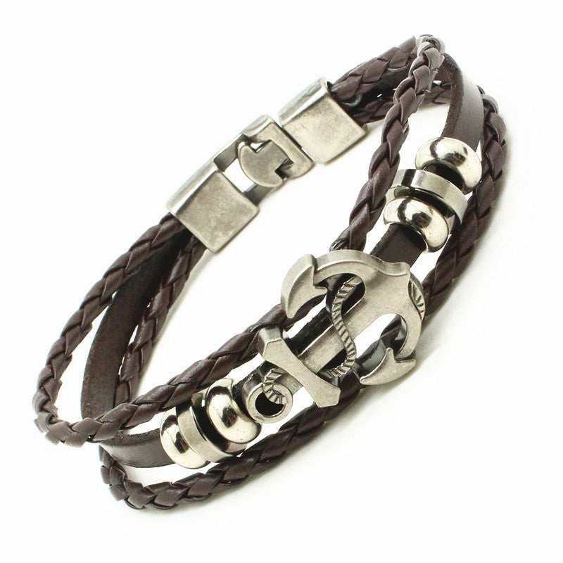 Hand Braided Leather Anchor Bracelet