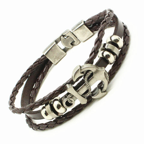 Image of Hand Braided Leather Anchor Bracelet