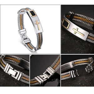 3 Wire Stainless Steel Cross Bracelet