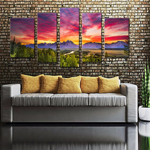 5 Panel Mountain Sunset Wall Art with Wooden Frame - Ready To Hang