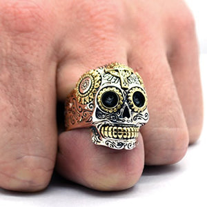 Handcrafted Sterling Silver Sugar Skull Ring