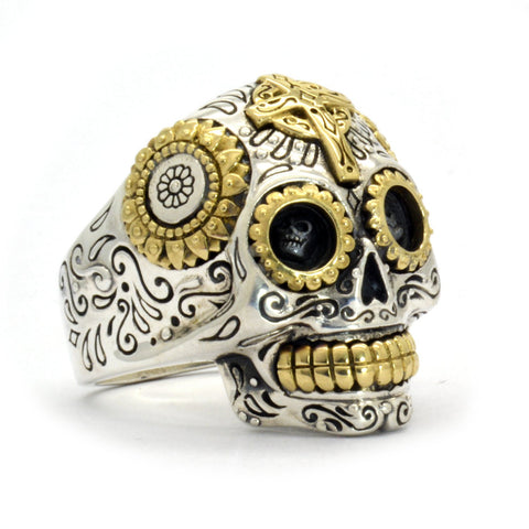 Image of Handcrafted Sterling Silver Sugar Skull Ring