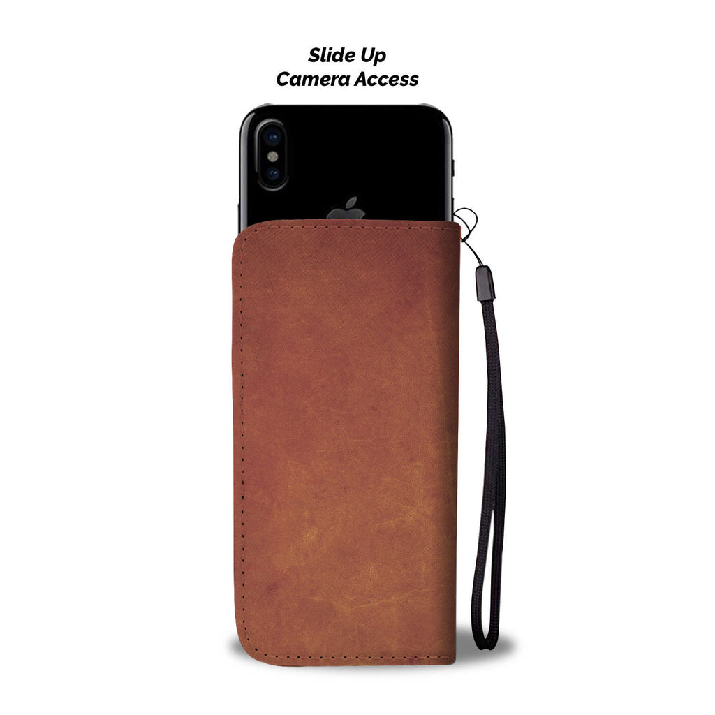 Smooth Brown Leather Cell Phone Wallet Case
