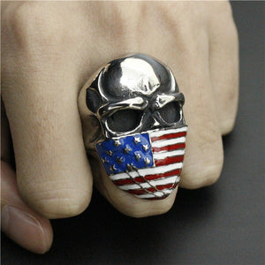 Stainless Steel Skull with American Flag Mask Ring