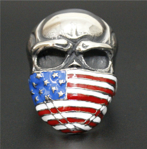 Image of Stainless Steel Skull with American Flag Mask Ring